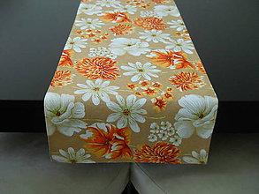 Úžitkový textil - Štóla - Oranžové kvety - 6727436_