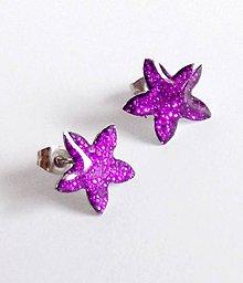 Náušnice - Květinové fialové z chirurgické oceli - 6729832_