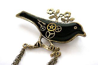 Odznaky/Brošne - Steampunková brošňa, čierny vtáčik - 6730688_