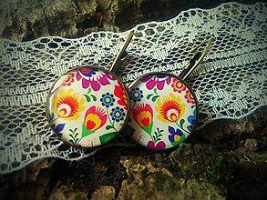 Náušnice - Náušničky s folk farebným vzorom - 6742461_