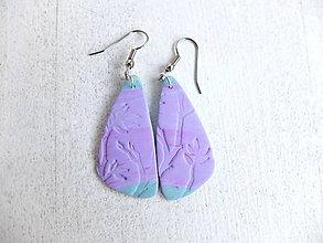 Náušnice - Náušnice lístky fialovo tyrkysové - 6746012_