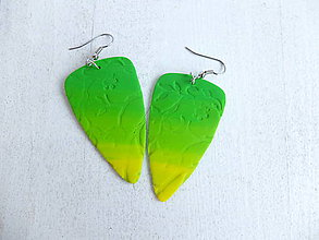 Náušnice - Náušnice lístky zeleno žlté - 6746214_