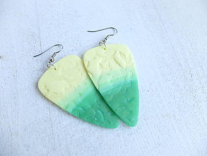 Náušnice - Náušnice lístky žlto zelené - 6746290_