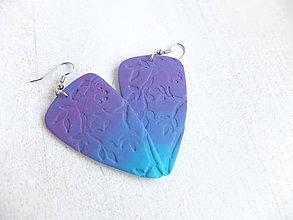 Náušnice - Náušnice lístky fialovo modré - 6746294_