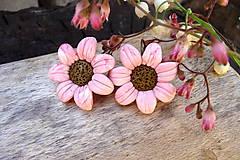 Náušnice - margarétky v ružovo-vanilkovej - 6750511_