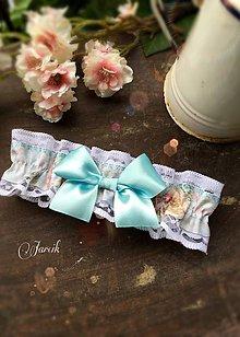 Bielizeň/Plavky - Vintage svadobný  podväzok I. - 6756213_