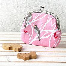 Peňaženky - Ružová peňaženka s vtáčikmi - 6757951_