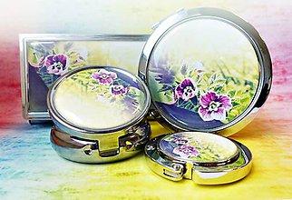Zrkadielka - sada Kvietky - zrkadielko, háčik na kabelku, púzdro na vizitky, liekovka - 6778143_
