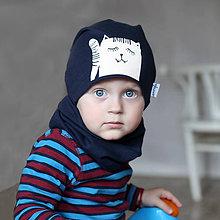 Detské čiapky - Čiapka s nákrčníkom modrá (potlač Mačička) - 6784911_