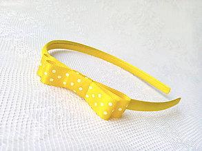 Ozdoby do vlasov - Yellow headband (small white polka dots) - 6792281_