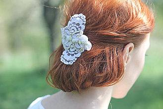 Ozdoby do vlasov - Vintage čipkový hrebienok na svadbu - 6809452_
