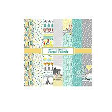 Papier - Sada papierov 15,2x15,2cm 12ks Forest Friends - 6817364_