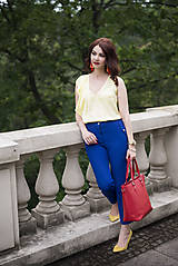 Nohavice - Modré nohavice skrátenej dĺžky - 6819015_