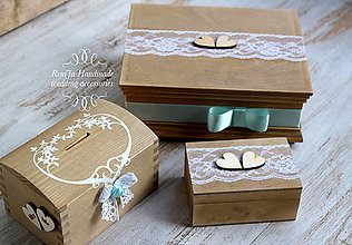Krabičky - Svadobná sada Tyrkys - 6822188_