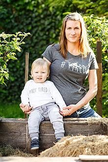 Detské oblečenie - Dámske tričko + detské body = súprava MAMA #TIRED - 6824172_