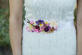 Opasky - Kvetinový opasok na stuhe \