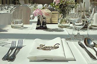 Grafika - Drevené svadobné menovky - 6841748_