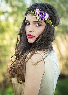 Ozdoby do vlasov - Kvetinová retro čelenka \