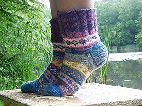 Obuv - pestrofarebné ponožky s nórskym vzorom (v.6-7) - 6861431_