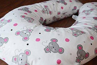 Úžitkový textil - Vankúš na dojčenie sivo-ružové myšky - 6870738_