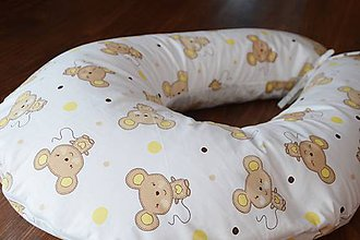 Úžitkový textil - Vankúš na dojčenie žlto-béžové myšky - 6870763_