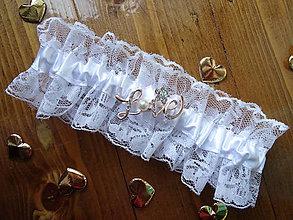 Bielizeň/Plavky - Biely jemný podväzok s vyznaním LOVE - 6875628_