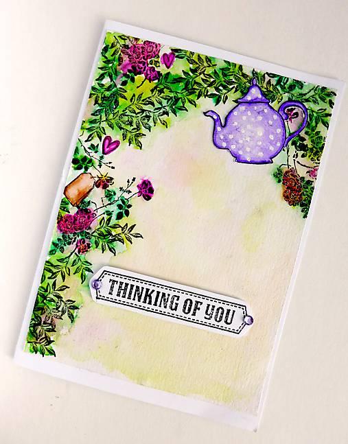 Pohľadnica Thinking of you s čajníkom