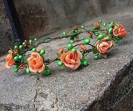 Ozdoby do vlasov - Venček oranžovo-zelený - 6892316_