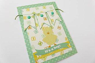 Papiernictvo - pohľadnica k narodeniu dieťatka - 6899096_